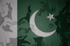 巴基斯坦的旗子卡其色的纹理的 装甲攻击机体关闭概念标志绿色m4a1军用步枪s射击了数据条工作室作战u 库存照片
