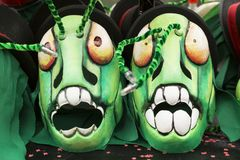 巴塞尔狂欢节2018创造性的蚂蚱面具 库存照片