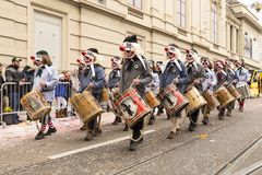 巴塞尔狂欢节2018游行在瑞士 免版税图库摄影