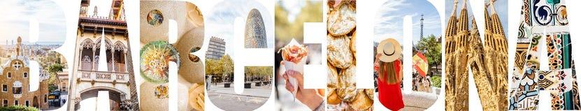 巴塞罗那信件用图片填装了从巴塞罗那市 库存照片