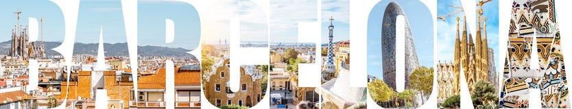 巴塞罗那信件用图片填装了从巴塞罗那市 免版税库存图片
