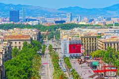 巴塞罗那全景从纪念碑的到克里斯托弗・哥伦布 免版税库存图片