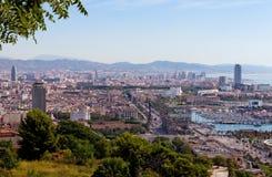 巴塞罗那全景从Montjuic的 库存照片