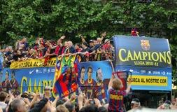 巴塞罗那公共汽车fc球员 免版税图库摄影