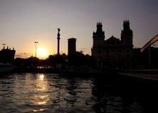 巴塞罗那哥伦布雕象 库存照片