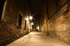 巴塞罗那哥特式晚上季度 免版税库存图片