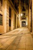 巴塞罗那哥特式运输路线每夜的四分之一西班牙 图库摄影