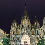 巴塞罗那大教堂在晚上,西班牙 库存图片
