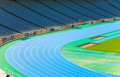 巴塞罗那奥林匹克连续体育场跟踪 库存照片