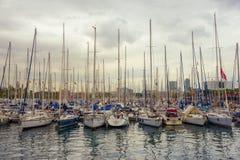 巴塞罗那小游艇船坞,西班牙 免版税图库摄影