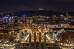 巴塞罗那市光在Montjuïc 免版税库存照片