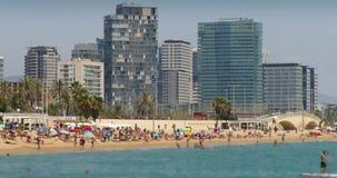 巴塞罗那市海滩和建筑学  时间间隔 ?? 股票录像