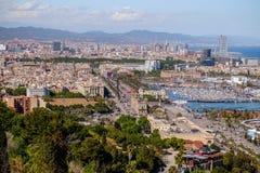 巴塞罗那市都市风景视图  西班牙 库存图片