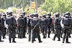 巴塞罗那干预警察西班牙 库存照片