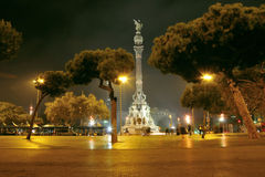 巴塞罗那晚上 库存照片