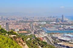 巴塞罗那沿海视图  库存图片