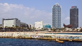 巴塞罗那海滩鸟瞰图  免版税图库摄影