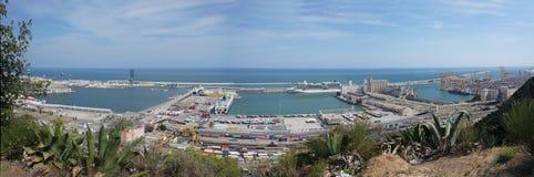 巴塞罗那港的全景  免版税库存图片
