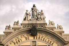 巴塞罗那港的大厦的弗龙通  免版税库存照片
