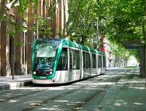 巴塞罗那现代电车 免版税库存图片