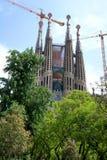 巴塞罗那的著名大教堂La Sagrada Familia 免版税库存照片