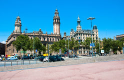 巴塞罗那的街道和通信机。 库存照片