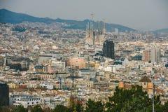 巴塞罗那空中都市风景  免版税图库摄影