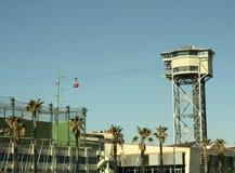 巴塞罗那缆索铁路的San Sebastian塔 库存图片