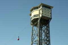 巴塞罗那缆索铁路的San Sebastian塔 库存照片
