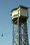 巴塞罗那缆索铁路的San Sebastian塔 免版税库存照片