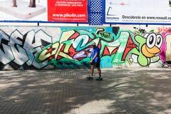 巴塞罗那街道画艺术  免版税库存照片
