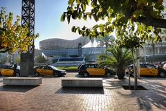 巴塞罗那西班牙出租车在旅游地方停放了 库存图片