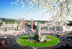 巴塞罗那西班牙广场 库存照片