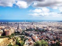 巴塞罗那西班牙,从上面的全景城市视图 库存图片