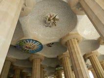 巴塞罗那西班牙 公园Guell细节、专栏和装饰 免版税库存图片