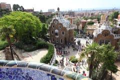 巴塞罗那西班牙- 6月9日:入口房子的上面从公园顾的 免版税库存图片