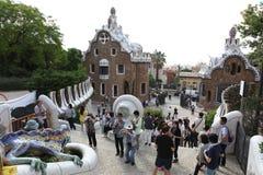 巴塞罗那西班牙- 6月9日:Atf从公园Guell的入口房子 库存照片