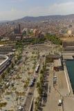巴塞罗那,卡塔龙尼亚,西班牙都市风景从montjuic缆车的 免版税库存图片