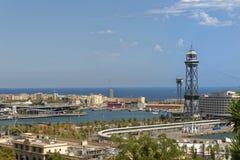 巴塞罗那,卡塔龙尼亚,西班牙鸟瞰图从montjuic缆车的 免版税库存图片