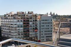 巴塞罗那,旗子巴塞罗那,西班牙- 2017 10月17日,头等的视图  库存图片