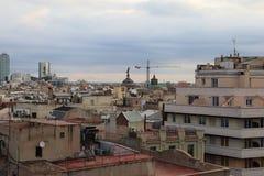 巴塞罗那,西班牙屋顶  库存照片