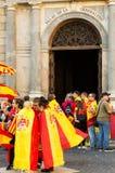 巴塞罗那,西班牙抗议10月08日,反对卡塔龙尼亚的独立的 免版税库存照片