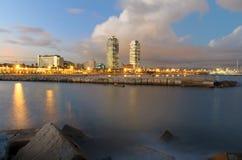 巴塞罗那,西班牙海岸线  免版税库存图片