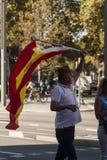 巴塞罗那,西班牙, 2017年8月8日:团结的支持者与西班牙wa 库存照片