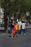 巴塞罗那,西班牙, 2017年8月8日:团结的示范与西班牙 免版税图库摄影