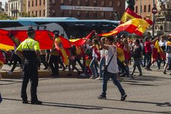 巴塞罗那,西班牙, 2017年8月8日:团结的示范与西班牙 库存照片