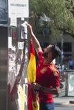 巴塞罗那,西班牙, 2017年8月8日:团结的示范与西班牙 免版税库存照片