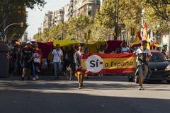 巴塞罗那,西班牙, 2017年8月8日:团结的示范与西班牙 免版税库存图片