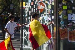 巴塞罗那,西班牙, 2017年8月8日:团结的示范与西班牙 库存图片