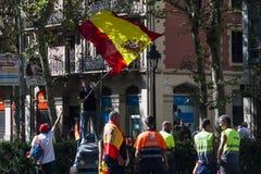 巴塞罗那,西班牙, 8月8日2107 :团结的示范与西班牙 免版税库存图片